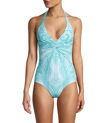 paisley-print one-piece swimsuit