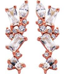 cubic zirconia cluster earring in fine silver plate