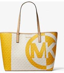 mk borsa tote carter grande bicolore con logo - sun multi - michael kors