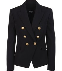 balmain woman black wool blazer with gold embossed buttons