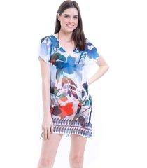 blusa 101 resort wear tunica decote v crepe estampada folhas bicolor