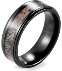 men's black titanium real forest camo ring outdoor hunting wedding band
