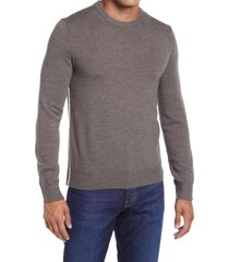 men's club monaco crewneck wool sweater, size medium - brown