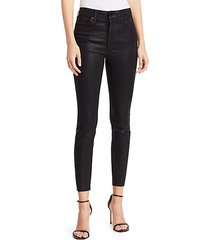 the charlie high-rise ankle cut-hem coated jeans