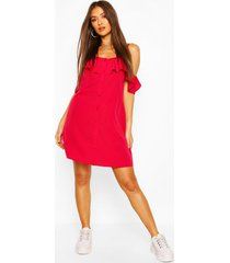 cold shoulder button detail slip dress, cranberry