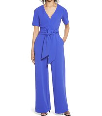 women's badgley mischka collection tie front short sleeve stretch crepe jumpsuit, size 4 - blue
