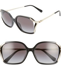 women's coach 57mm square sunglasses - black/ black gradient