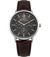 ben sherman men's brown synthetic leather strap multifunction watch, 40mm