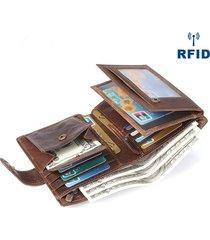 portafoglio trifold per uomo con portautensili con slot per schede multiple in vera pelle vintage
