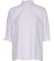 dhpalma blouse blouses short-sleeved blauw denim hunter