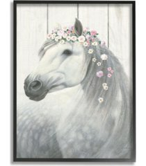 "stupell industries spirit stallion horse with flower crown framed giclee art, 16"" x 20"""