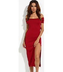 2 pack - women's sexy bodycon inelastic short sleeve maxi dress - wine red