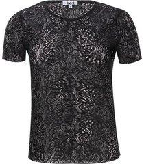 camiseta m/c encaje color negro, talla 10