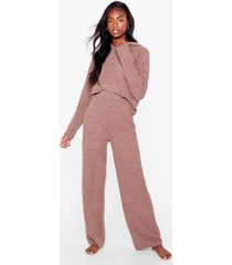 womens a good match knitted hoodie and wide-leg lounge set - brown