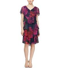 sl fashions tiered floral-print shift dress