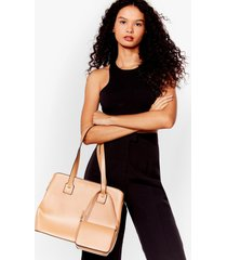 womens want it's happy hour tote bag set - tan