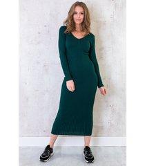 stretch rib jurk smaragdgroen