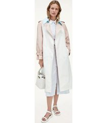 tommy hilfiger women's icon organic cotton trench coat breezy blue/ light pink/ white - 12