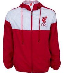 jaqueta corta-vento liverpool com capuz - masculina - vermelho/branco