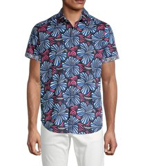 robert graham men's classic-fit floral-print shirt - red multicolor - size xl