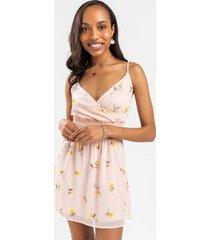 alivia floral smocked mini dress - peach