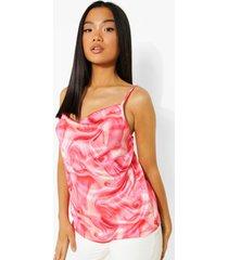 petite marmerprint hemdje met waterval hals, pink