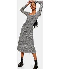 black and white star print mesh midi dress - monochrome