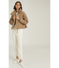 reiss corey - puffer jacket with funnel neckline in camel, womens, size l