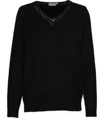 fremally 4 pullover stickad tröja svart fransa
