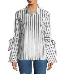 striped bell-sleeve button-down shirt