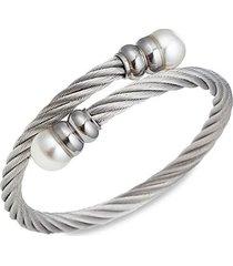 luxe collection titanium & faux pearl cuff bracelet
