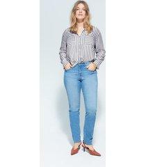 bedrukte gestreepte blouse