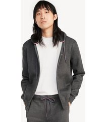 tommy hilfiger men's essential zip hoodie charcoal grey heather - xxl