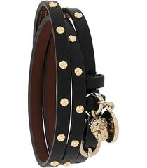 alexander mcqueen double-wrap studded bracelet - black