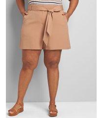 lane bryant women's perfect drape short with belt 16 burro brown
