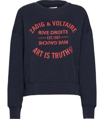 champ blason printed co/ modal sweatshirt sweat-shirt tröja blå zadig & voltaire