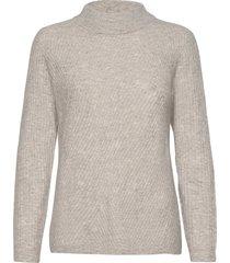 fqhill-pu-high-rib stickad tröja grå free/quent