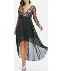 sequined mesh panel high low chiffon prom dress