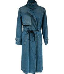 federica tosi denim drawstring long coat