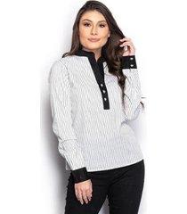 camisa camisete feminina listrada manga longa casual - feminino