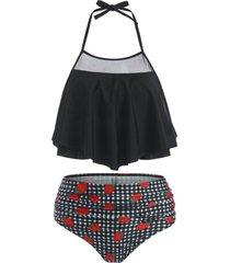 halter mesh panel strawberry print gingham ruched tankini swimwear