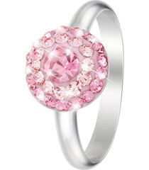 anello in argento 925 rodiato e cristalli rosa per donna
