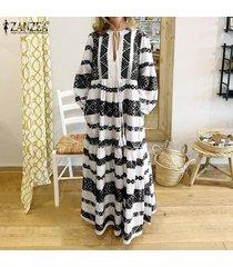 zanzea vestido de playa con cordones y manga de linterna para mujer vestidos largos de kaftan casuales para mujer -negro