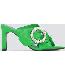 na-kd shoes embellished heeled mule sandals - green