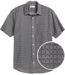 camisa lino blend manga corta negro gap