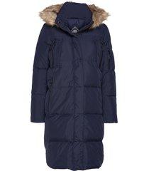 premium down louisa coat gevoerde lange jas blauw superdry
