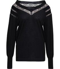 alberta ferretti black openwork wool sweater