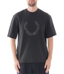 fred perry made in japan printed t-shirt - black m7805-102