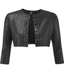 lisa marie fernandez women's textured cropped cardigan - black - size xs
