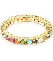 anillo straight color de plata vermeil y gemas tous